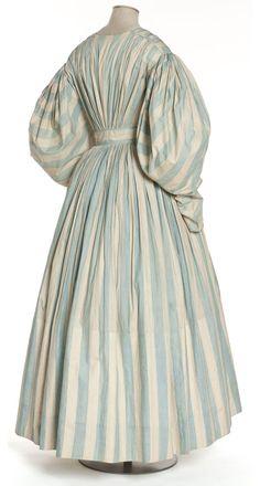 Robe, France, vers 1830-1835 Linon rayé, chiné