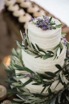 Olive branch covered cake: http://www.stylemepretty.com/wisconsin-weddings/greenbay/2015/07/15/lush-country-club-wedding-in-green-bay/ | Photography: Emily Katharine - http://www.emilykatharine.com/