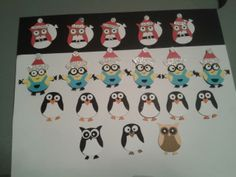 Minions, Owls and Penguins made with the Stampin Up owl Punch