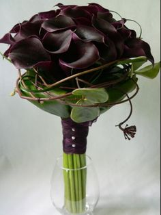 Black calla lilies bouquet -# wedding flowers # bouquet