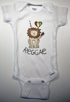 "Baby Onesie -  ""I Love Reggae"" Lion Illustration"