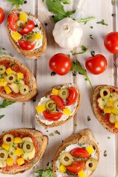 Appetizer Recipe: Cheesy Bruschetta with Tomatoes, Olives, & Peppers