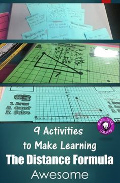 Looking for ways to help students really learn and remember the distance formula? Check out these 10 engaging and fun distance formula activities! They're great ways to spice up your distance formula unit. Geometry Lessons, Teaching Geometry, Geometry Activities, Teaching Math, Math Lessons, Math Activities, Math Games, Teaching Tools, Teaching Ideas