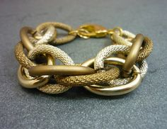 TWO TONE Large Chunky Gold & Bronze Entwined Rope by AstralMetal, $23.00