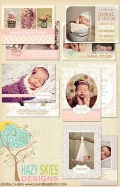 Birth Announcement Photoshop Templates for Photographers #digital #psd #photography