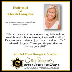 This is what John had to say about his reading with Deborah Livingston. If you are up for an amazing experience we highly recommend you book with Deb.  http://ift.tt/1OiFBm4  #deborahlivingston #mediumship #bestamericanpsychics #bap #teacher #animalcommunicator #lightworker #review #testimonial #happyclient #bestofthebest #simplythebest #satisfiedclient #whenonlythebestwilldo #psychicmedium #psychic #spirit #spiritual #spirituality #award #winner #quality #professional #professionalism #life…