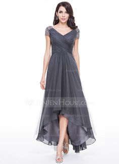 A-Line/Princess V-neck Asymmetrical Tulle Evening Dress With Ruffle Beading Sequins (017056519) - JenJenHouse