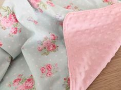 Baby Blanket Pink Shabby Chic Flowers Minky Girl -- Floral Baby Nursery Decor