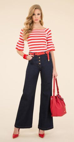 Striped pullover, trousers in denim with 5-pockets and palazzo cut, Igor bag.