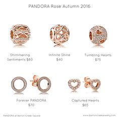 Full of heartwarming designs and lovelysparkle, the new Autumn 2016 pieces are quickly becoming PANDORA fan favorites.  The Shimmering Sentiments charm makes us think ofcelebrating the holidays, birthdays, and anniversaries. TheTumbling Hearts charm fits seamlessly into a bracelet filled with previous heart designs.  Delicate and dainty, our PANDORA Rose earrings let you complete a classy, understated look in PANDORA Rose.#PANDORATexas #PANDORARose #PANDORAcharms #PANDORAearrings