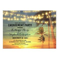 sunset beach engagement party string lights card