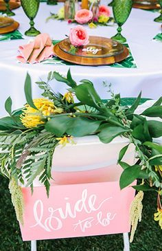 Pink & Yellow Tropical Bridal Shower Brunch , Pink & Yellow Tropical Bridal Shower - Inspired by This. Luau Bridal Shower, Bridal Shower Centerpieces, Bridal Shower Rustic, Bridal Shower Favors, Bridal Shower Chair, Floral Centerpieces, Wedding Reception Themes, Wedding Ceremony, Wedding Decoration