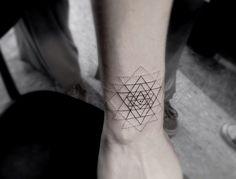 tattoo ink geometric triangles Dotwork dr. woo