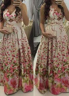 Flower Print V Neck Maxi Dress