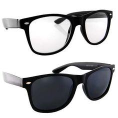 1c397966a8 Lot of 2 Nerd Glasses Buddy Holly Wayfarer Black and White Frame Clear Dark  Lenses