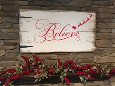 Reclaimed Wood Sign Believe Believe Christmas by DorwayDesigns