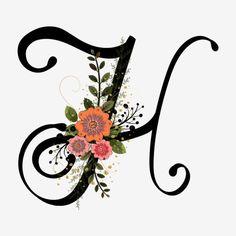 Abjad Huruf H Dengan Bunga Vintaj Fancy Letters, Floral Letters, Monogram Letters, English Alphabets With Pictures, Alphabet Pictures, Floral Vintage, Vintage Flowers, Celtic Fonts, 480x800 Wallpaper