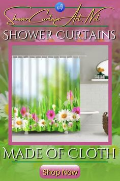 QUICK & EASY! Easily update your bathroom decor with a premium cloth shower curtain from Shower Curtain Art! Shower Curtain Art, Cool Shower Curtains, Floral Shower Curtains, Bathroom Curtains, Shower Accessories, Curtains With Blinds, Bathroom Fixtures, Bathroom Furniture, Fabric Flowers