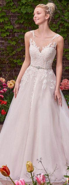 Gorgeous Tulle & Satin Scoop Neckline A-Line Wedding Dresses With Lace Appliques & Beadings