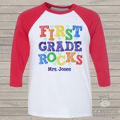 Teacher first grade rocks colorful personalized raglan shirt