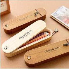Class 302 - Wooden Vintage Pencil Case