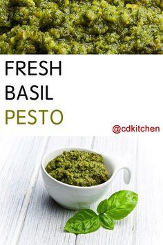 Made with Parmesan cheese, pine nuts, garlic, fresh basil, kosher salt, black pepper, olive oil | CDKitchen.com