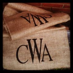 Burlap Monogrammed Table Runner, would be cute for a rustic wedding