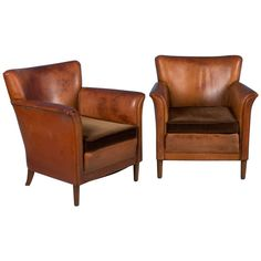 Pair of Vintage Danish Leather Club Chairs with Cushion Seats 1 Brass Tacks, Leather Club Chairs, Chair Cushions, Cozy House, Danish, Armchair, Living Room, Antiques, Furniture