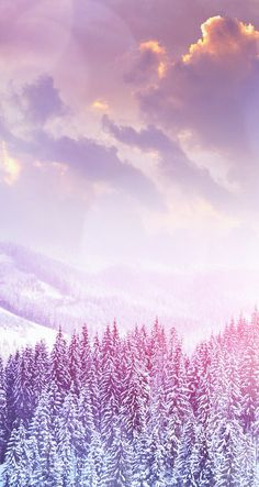 Purple and Pink snow mountain iPhone wallpaper