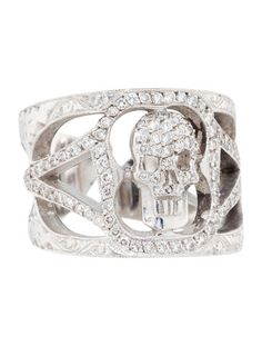Loree Rodkin 1.00ctw Diamond Skull Ring