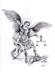 Erzengel Michael bekämpft den Teufel-Tattoo Vorlage
