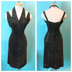Vintage 1950s Halter Cut Out Lame Cocktail Wiggle by hipsmcgee