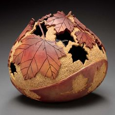 Cool creative style—lovely workmanship in this carved & painted gourd—artist, Marilyn Sunderland, Utah, US❣ marilynsunderlandstudio.com