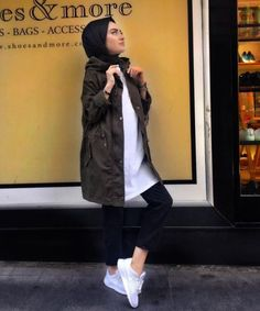 Military khaki hijab style – Just Trendy Girls