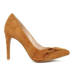 Elisa suede bow pump - Luggage