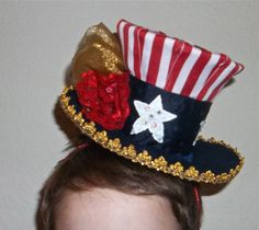 red, white and blue headpiece, hat