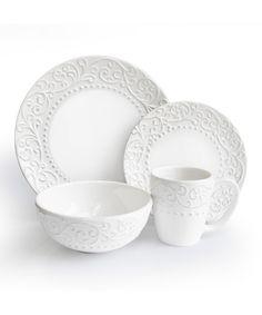 White Petals Bianca 16-Piece Dinnerware Set//