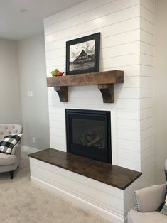 Custom Mantel with Corbels – Farmhouse Fireplace Mantels Custom Fireplace Mantels, Brick Fireplace Makeover, Wood Mantels, Fireplace Hearth, Home Fireplace, Living Room With Fireplace, Fireplace Surrounds, Fireplace Design, Fireplace Ideas