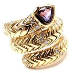 Pre-owned Bulgari 18K Yellow Gold Diamond Amethyst Spiga Snake Band... ($5,000) ❤ liked on Polyvore featuring jewelry, rings, diamond band ring, gold heart ring, pre owned diamond rings, gold diamond rings and gold band ring