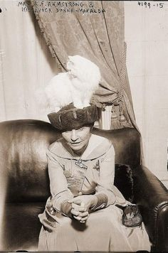 Mrs. R.F. Armstrong with the winner of a cat show, ornamenting her hat. cats in 20th century history
