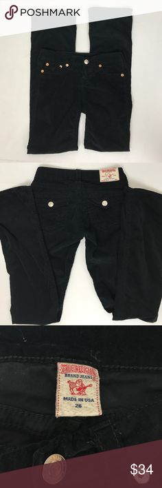 """True religion black velvet boot cut pant size 26 Excellent condition. Soft and stretchy. No stain, holes or fraying. Waist 14.5"""" Inseam 33"""" Leg opening 8.5"""" Front rise 7.5"""" Back rise 12"""" True Religion Jeans Boot Cut"""