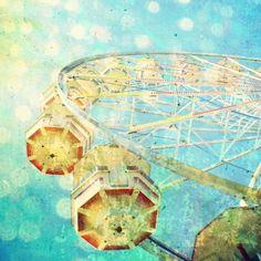 Aqua Blue Ferris Wheel Photography - Nursery  roome decor - carnival ride art gold aquamarine sparkles kids room cirque citrus lemon. $30.00, via Etsy.
