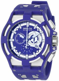 Invicta Men's 0633 Reserve Collection Akula Chronograph Blue Dial Blue Polyurethane Watch Invicta. $199.99. Durable flame-fusion crystal; brushed and polished stainless steel case; blue polyurethane strap with stainless steel inserts. Precise Swiss-quartz movement. Water-resistant to 330 feet (100 M). Blue sunray dial with blue and white hands, silver-tone hour markers and white second hand; luminous; stainless steel bezel with blue polyurethane cover. Chronograph functions wit...