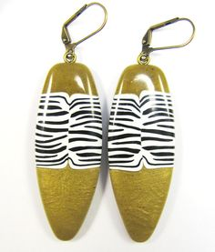 Polymer Clay Earrings  Exotic Olive Zebra Print by DivaDesignsInc, $26.00