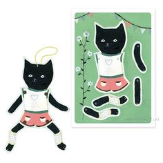 Paper doll 'Zwarte kat' | kaarten | stokwolf