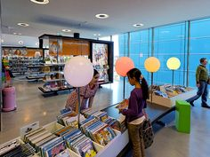 Almere Library, the Netherlands; low book bins for the kids, and loads of display space.