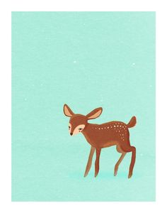 one spring fawn. baby deer on blue - 8.5 x 11 art print from lulufroot etsy