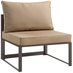Fortuna Armless Outdoor Patio Sofa in Brown Mocha