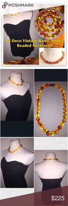 """Vintage Art Deco Baltic Amber Beaded Necklace! Art Deco Vintage Baltic Amber Beaded Necklace! Fab estate piece measures approx 17"""" end to end & hangs 8"""" long. Features 33 round, amber beads measuring 13mm in size with twist clasp. Weighs approx. 36.22 grams. Passed solvent (alcohol & acetone) tests & static electricity test. Failed for bakelite with Simichrome Polish & 409. You can also see the small pieces of leaves inside the beads & has not been reworked or reconstituted. Was restrung…"""