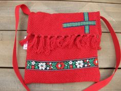small shoulder bag made from an old blanket and ribbons. It has green lining. #Folkleure